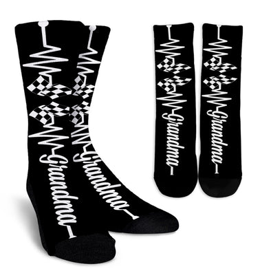 Racing Grandma Heartbeat Crew Socks