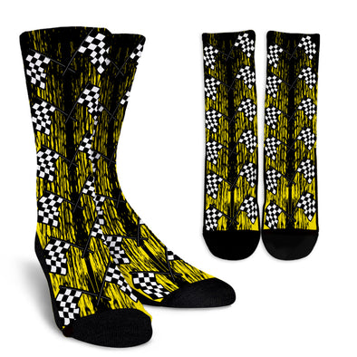 Dirt Racing Crew Socks Yellow