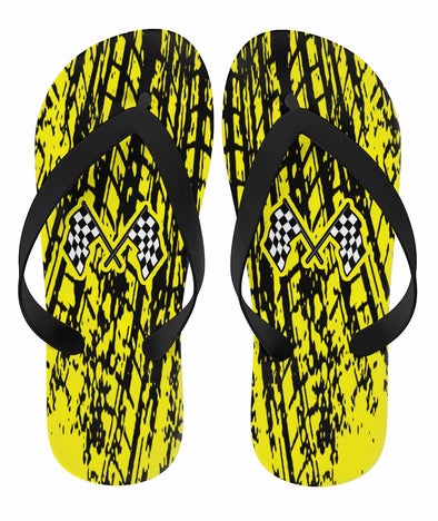 Dirt Racing Flip Flops Yellow