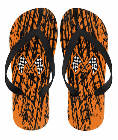 Dirt Racing Flip Flops Orange
