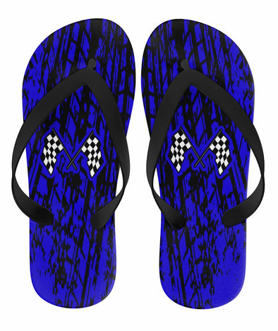 Dirt Racing Flip Flops Blue