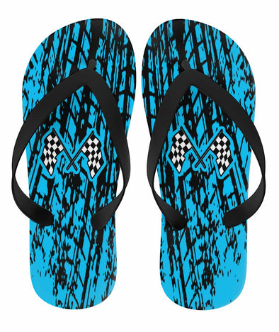 Dirt Racing Flip Flops Carolina Blue