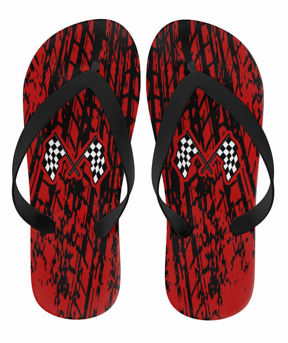Dirt Racing Flip Flops Red