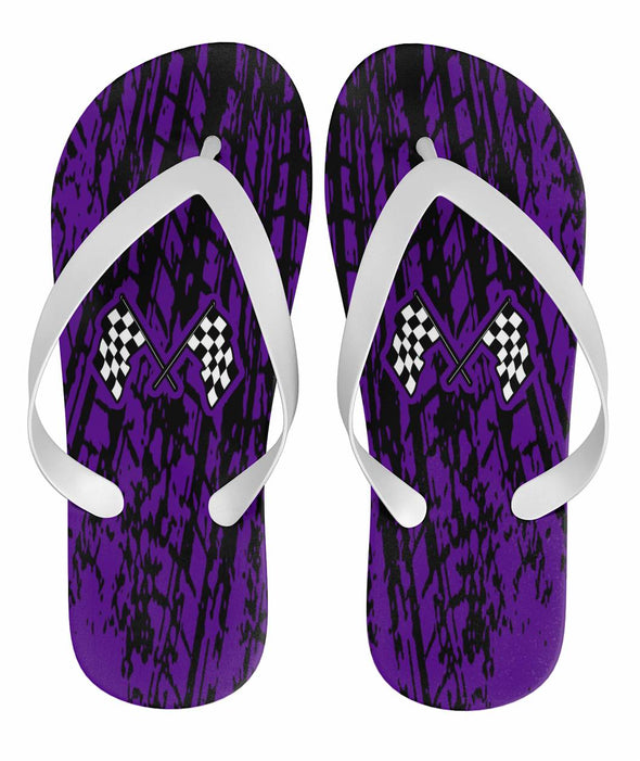 Dirt Racing Flip Flops Purple