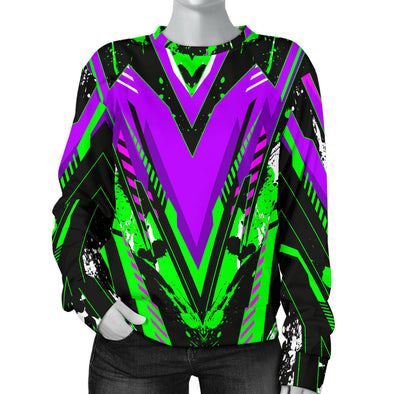 Racing Style Purple & Neon Green Splash Vibe Women's Sweater