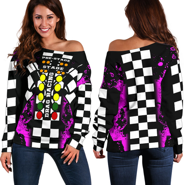 Drag Racing Pink Off Shoulder Sweater