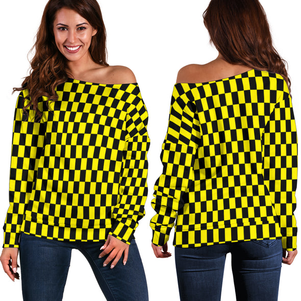 Racing Checkered Flag Off Shoulder Sweater Yellow
