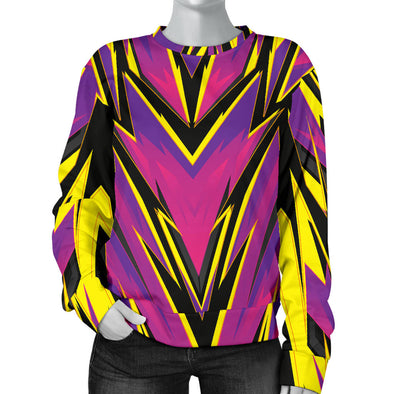 Racing Style Purple & Yellow & Black Women's Sweater
