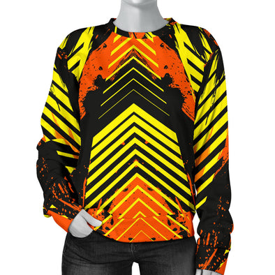 Racing Urban Style Orange & Yellow & Black Women's Sweater