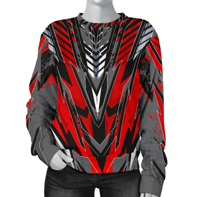 Racing Style Wild Red & Grey Colorful Vibe Women's Sweater