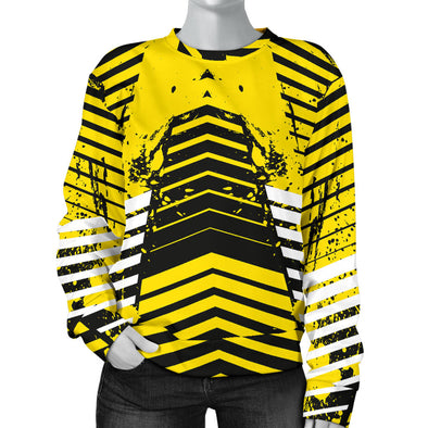 Racing Urban Style Black & Yellow Women's Sweater