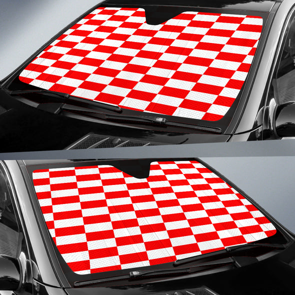 Racing Checkered Flag Windshield Sun Shade Red