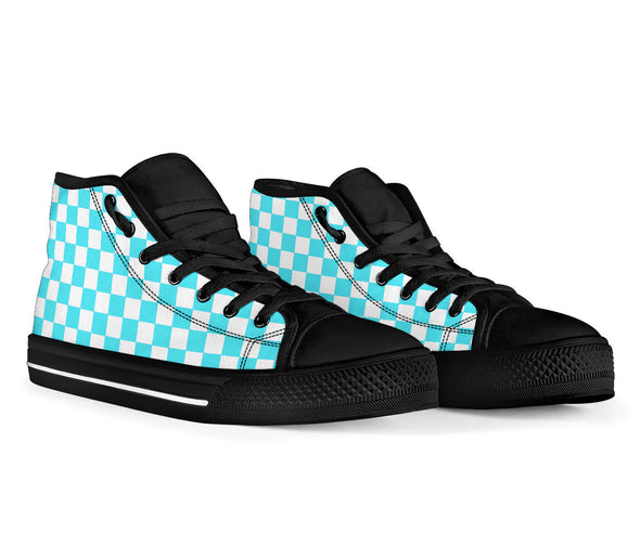 Racing Carolina Blue Checkered High Tops Black