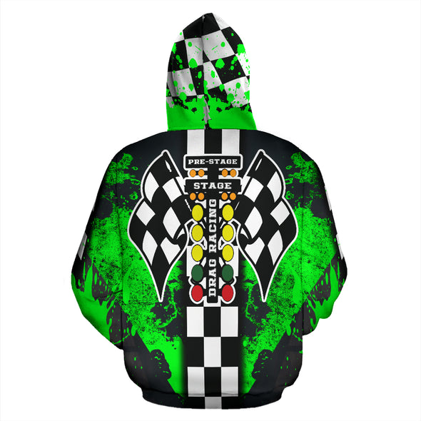 Drag Racing All Over Print Zip Up Hoodie Pistachio