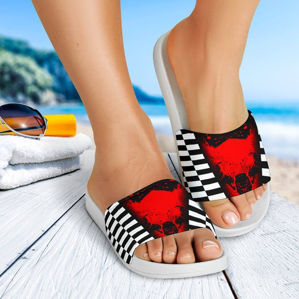 Racing Checkered Mixed Red Slide Sandals White