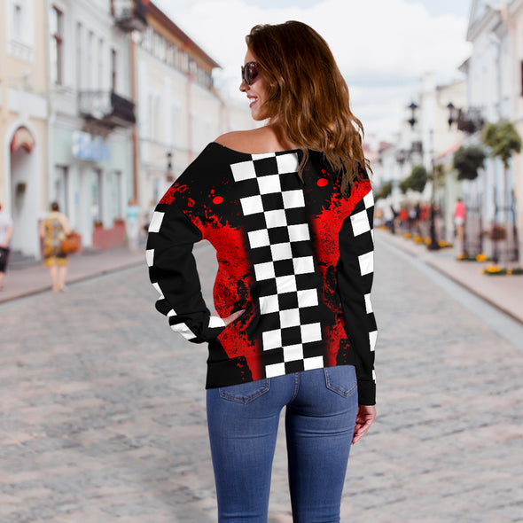 Racing Red Off Shoulder Sweater