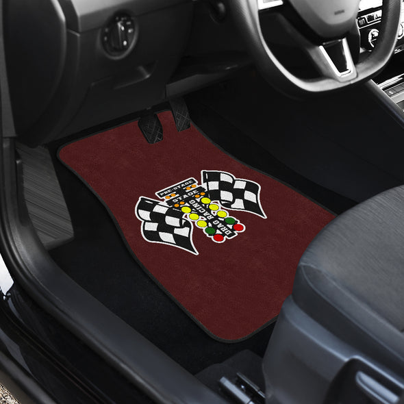 Drag Racing Flag Maroon Car Mats (Set Of 4)