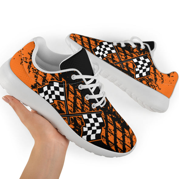 Dirt Racing Orange Muddy Flag Sneakers White