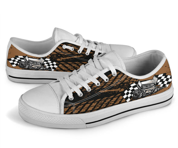 Dirt Racing Sprint Car Low Tops White