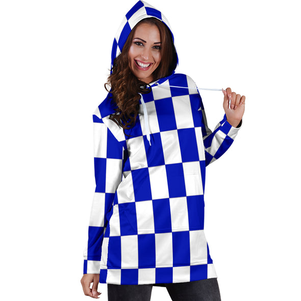 Racing Checkered Flag Hoodie Dress Blue