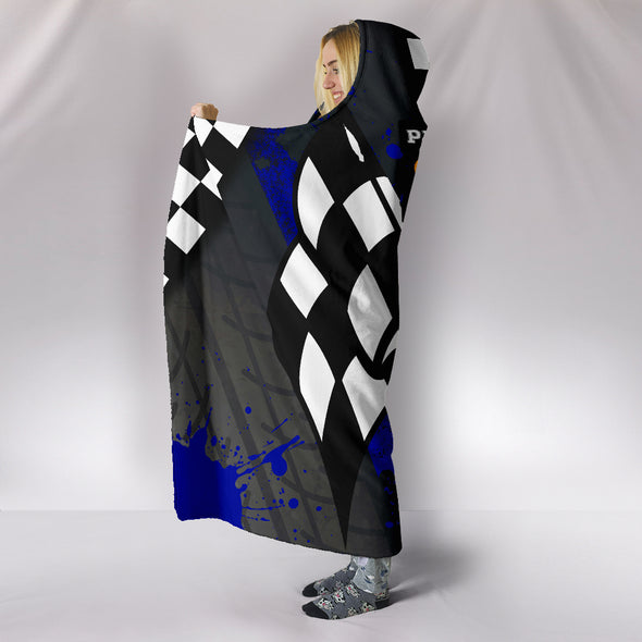 Drag Racing Blue Hooded Blanket