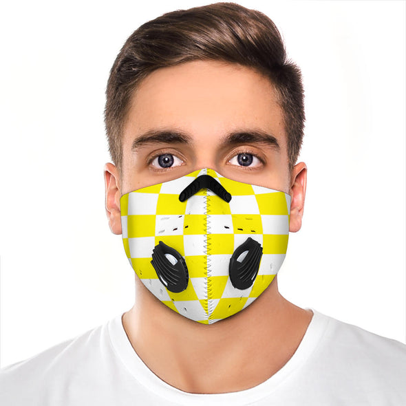Racing Checkered Flag Face Mask Yellow Premium Quality