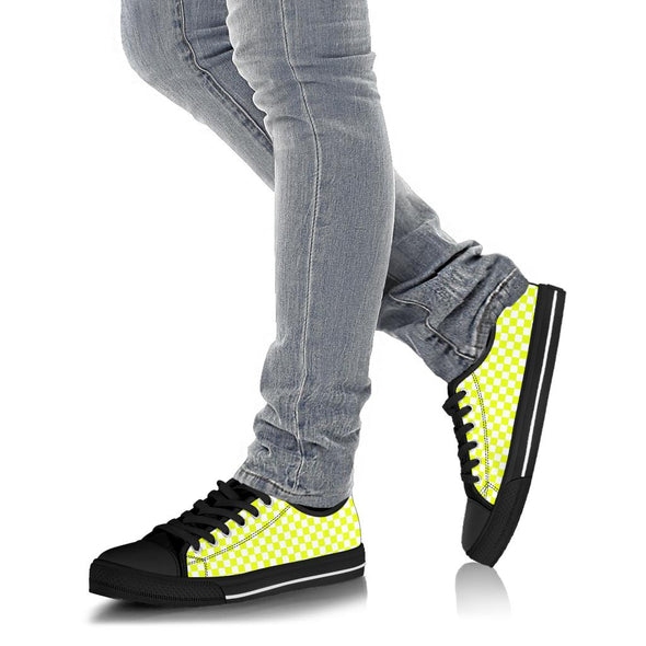 Racing Yellow Checkered Low Tops Black