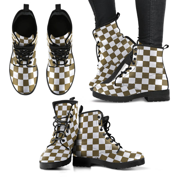 Racing Brown Checkered Boots