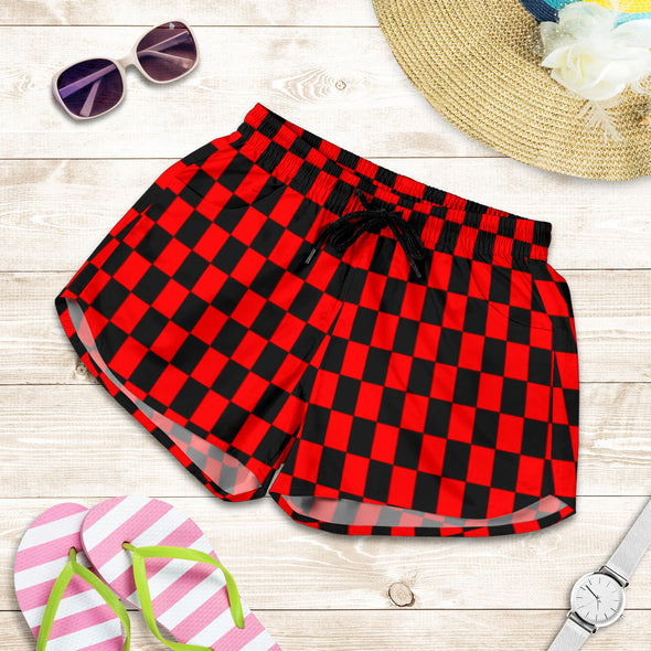 Racing Checkered Women's Shorts Red