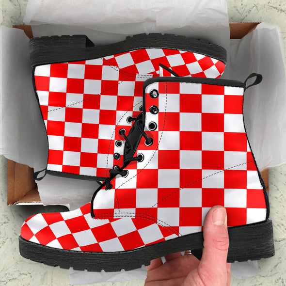Racing Red Checkered Boots