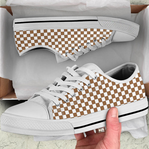 Racing Brown Checkered Low Tops White