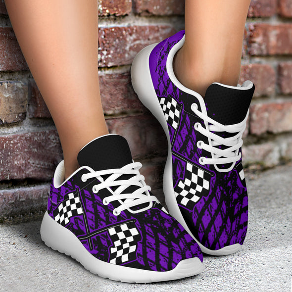 Dirt Racing Purple Muddy Flag Sneakers White