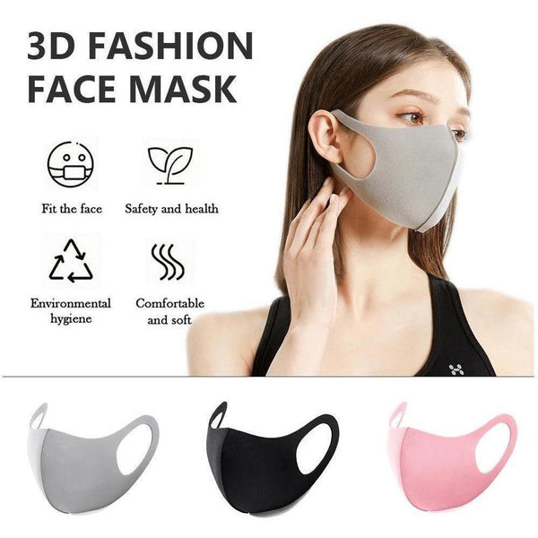Reusable Washable Fashion Spandex Cloth Facemask, GREY