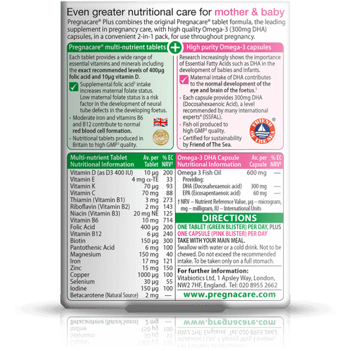 Pregnacare Plus Omega 3 (28/28) for Mums-to-be, 19 Nutrients and Omega-3