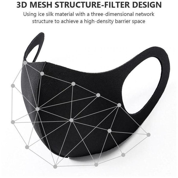Reusable Washable Fashion Spandex Cloth Facemask, BLACK