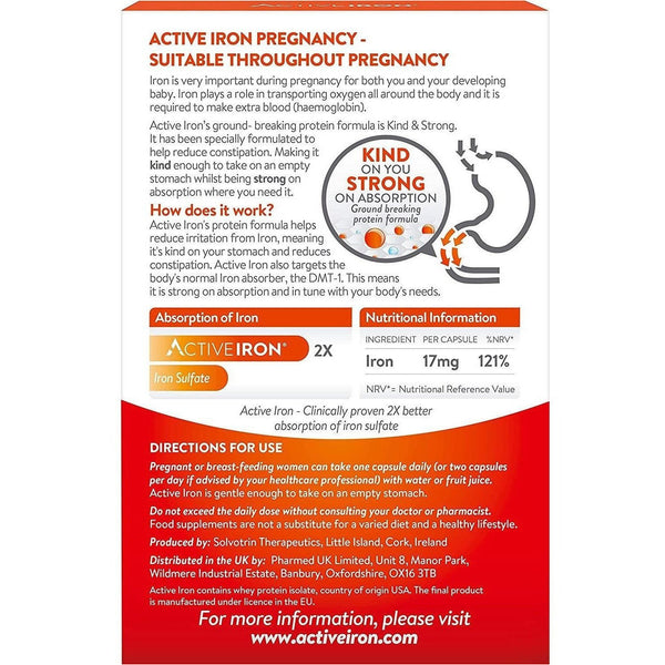 Active Iron Capsules (30), Pregnancy & Breastfeeding Formulation Supplement