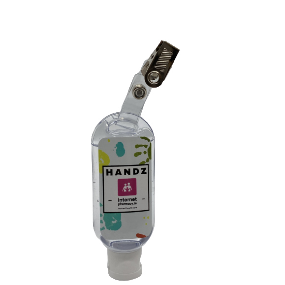 HANDZ Sanitiser Bottle with Crocodile Clip (with 50ml Fill 70% Alcohol Gel) x 4
