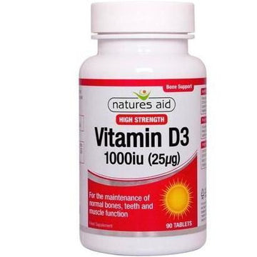 Natures Aid Vitamin D3 1000IU (25mcg) Tablets (90), High Strength