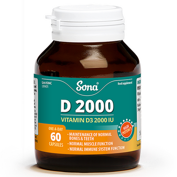 Sona Vitamin D3 (60) Capsules, 2000IU (50mcg) Extra High Strength