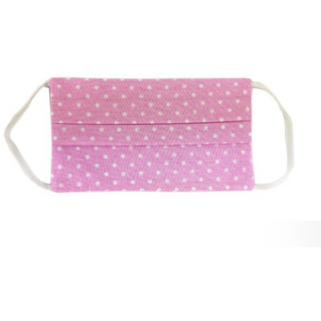 Cotton Cloth Facemask - Washable, Reusable (Pink Polka)