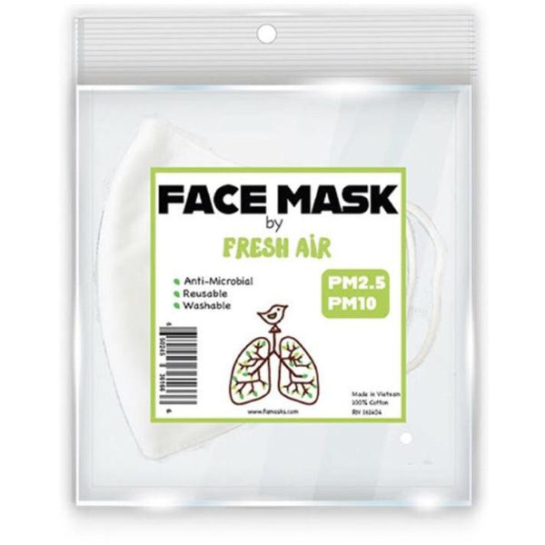 Reusable, Washable, Anti-microbial Cloth Facemask - White Soft Cotton