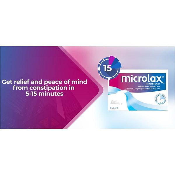 Microlax Rectal Enemas (4), Rectal Constipation Relief