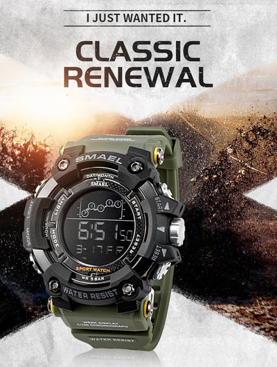 Military Water Resistant SMAEL Sport Watch, LED Digital, Stopwatch. - KronoWorld Secure Online Shopping