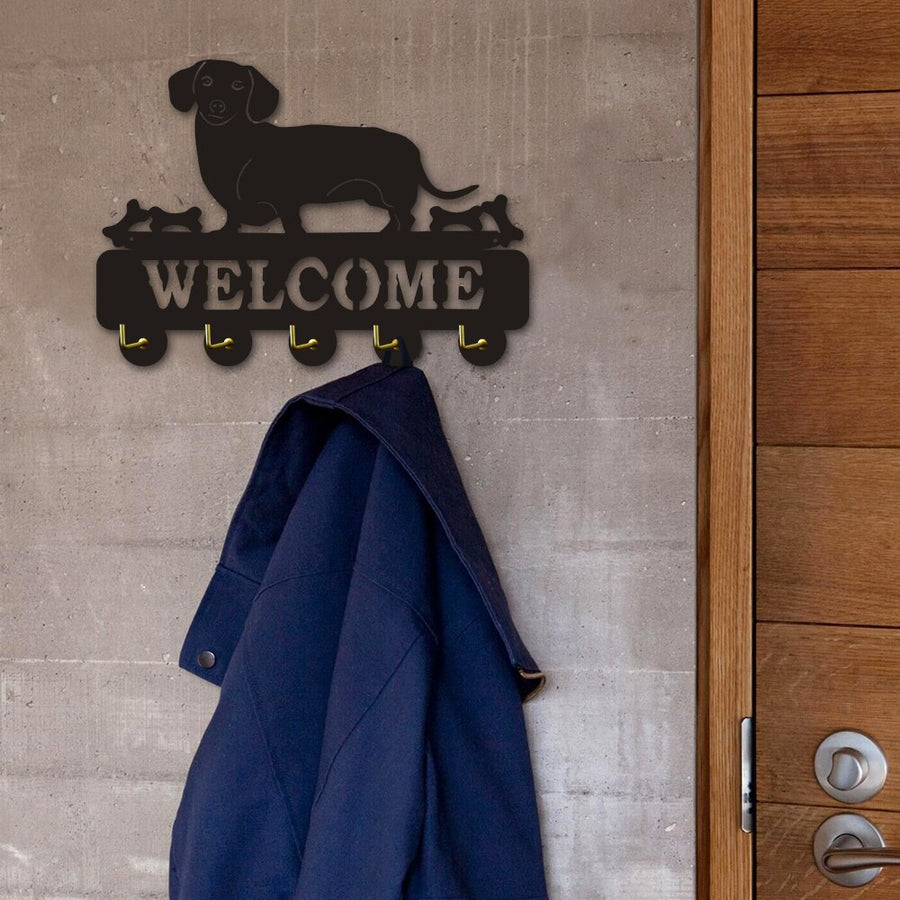 Doxie Dachshund Sausage Dog, Welcome Wooden Coat Rack, Key Holder - KronoWorld Secure Online Shopping