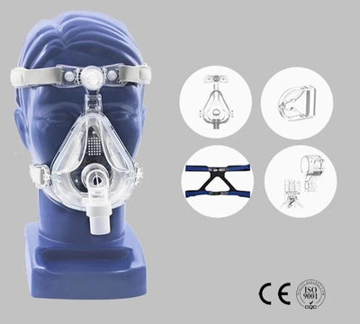 Full Face Mask CPAP Auto CPAP BiPAP With Headgear, Combat Sleep Apnea and Snoring - KronoWorld Secure Online Shopping