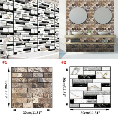Home Kitchen 3D Mosaic Bricks Style, Self-Adhesive Removable Wall Sticker - KronoWorld Secure Online Shopping