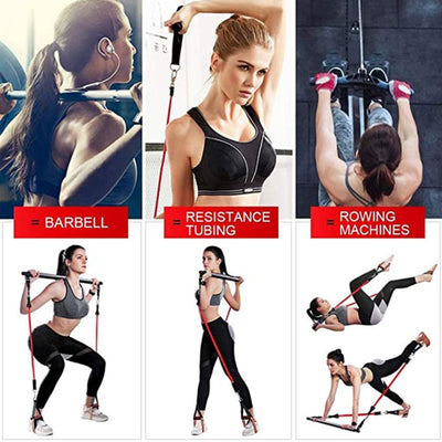Fitness Rod Resistance Band & Resistance Bar with Adjustable Belt