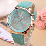 Ladies Luxury Quartz Fashion Watch, With Leather Wristband - KronoWorld Secure Online Shopping