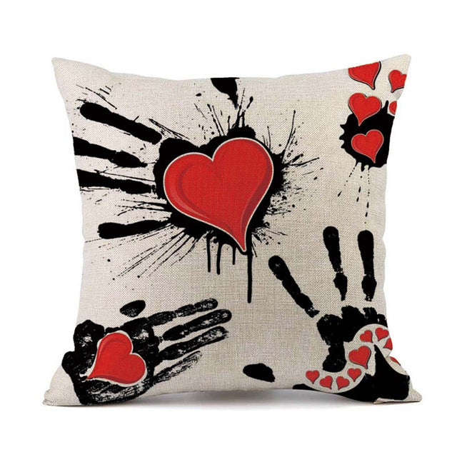 Happy Valentine Linen Pillow Case