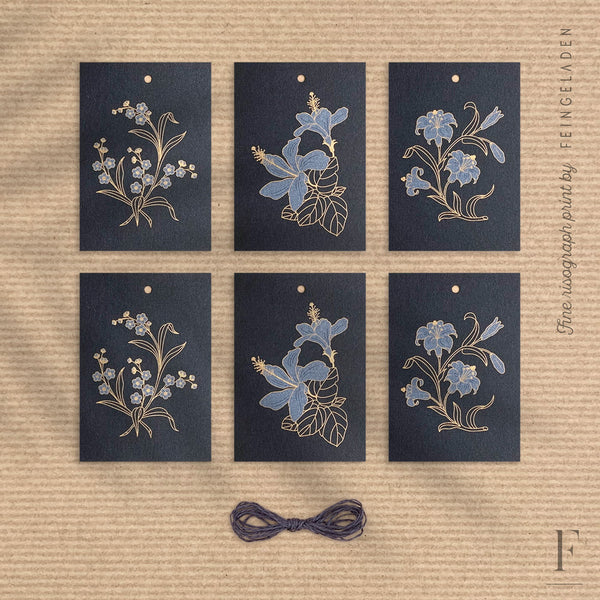 BOTANICA: Set of 6 / GiftTag / Black Edition - Feingeladen